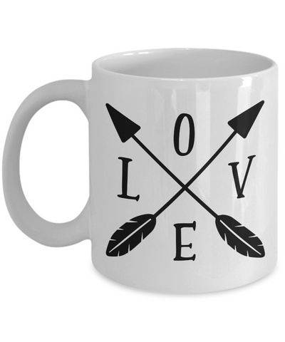 Love Arrows Mug Novelty Birthday Valentine's Day Gift Ceramic Coffee Cup