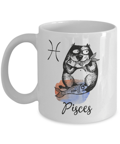 "Image of Funny Zodiac Cat Mug "" Pisces"" Cat Mug for Pisces People - February 19 - March 20 Birthday Mugs"
