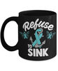 Refuse to Sink Fight Cancer Black Mug Gift Awareness Support Cup