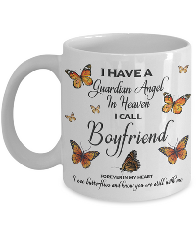 Boyfriend In Loving Memory Mug Guardian Angel in Heaven Monarch Butterfly Gift Memorial Ceramic Coffee Cup