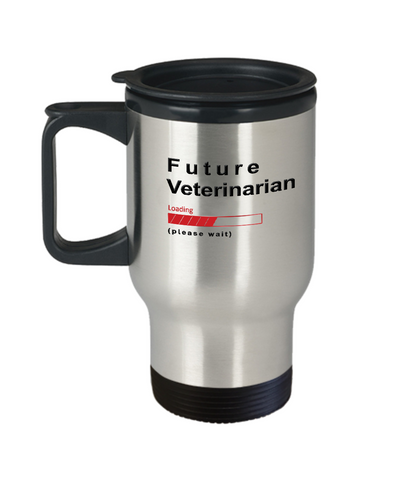 Image of Future Veterinarian Loading Please Wait Travel Mug Gifts for Women and Men