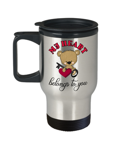 Image of My Heart Belongs to You Teddy Bear Travel Mug Gift Love You Surprise Valentine's Day Birthday Cup