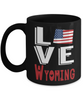 Love Wyoming State Black Mug Gift Novelty American Keepsake Coffee Cup