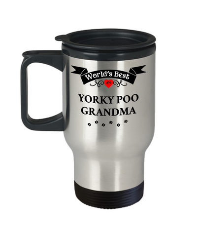 Image of World's Best Yorkie Poo Grandma Dog Cup Unique Yorkshire Terrier Travel Coffee Mug