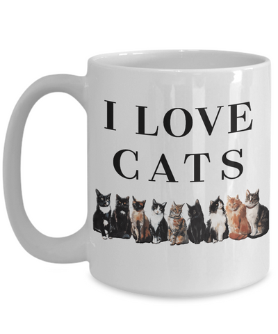Image of I Love Cats Mug Ceramic Coffee Cup Gift for Cat Lovers