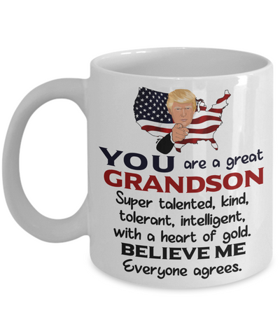 Funny Grandson Trump Mug Gift Heart of Gold Novelty Coffee Cup