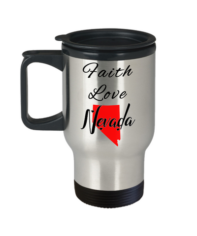 Image of Patriotic USA Gift Travel Mug With Lid Faith Love Nevada Unique Novelty Birthday Christmas Ceramic Coffee Tea Cup