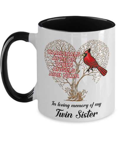 Image of Twin Sister Cardinal Memorial Coffee Mug Angels Appear Keepsake Two-Tone Cup