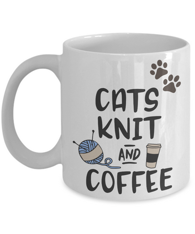 Cats Knit and Coffee Mug Gift for Feline Moms and Knitters Novelty Cup