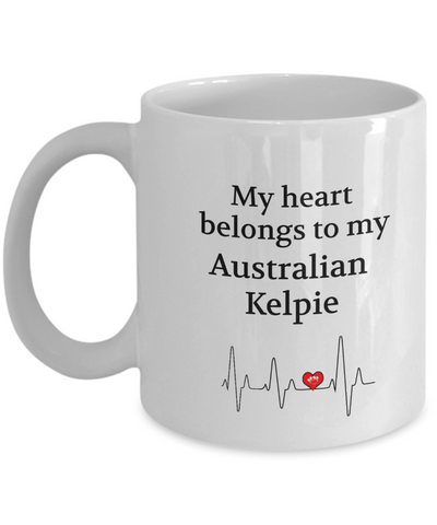 My Heart Belongs to My Australian Kelpie Mug Dog Lover Novelty Birthday Gifts Unique Work Ceramic Coffee Gifts for Men Women