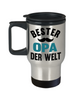 Bester Opa Derwelt Travel Mug Gift German Best Grandpa in The World Father's Coffee Cup