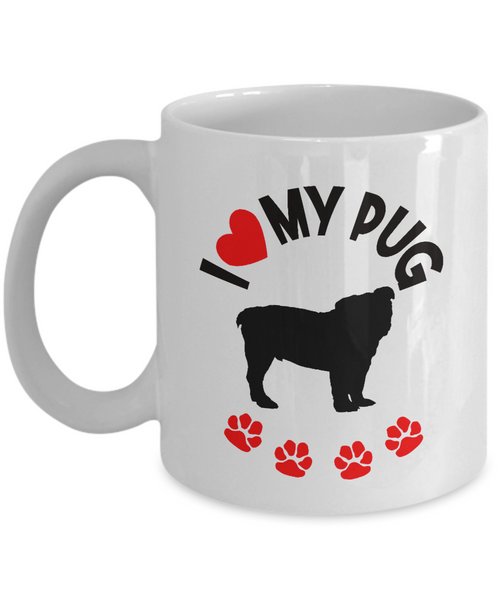 "Gift for Pug Dog Lovers, ""I Heart My Pug"" Fun Novelty Gift for Pug Dog Lovers"