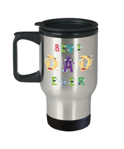 Best Dad Ever Travel Mug With Lid Father's Day Novelty Birthday Gift for Daddy Coffee Cup