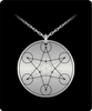 Hexagram Pendant Sacred Geometry Laser Etched Silver Colored Necklace