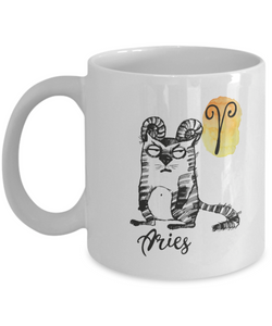 "Funny Zodiac Cat Mug "" Aries"" Cat Mug for Aries People - March 21 - April 19 Birthday Mugs"