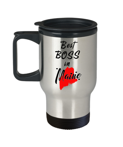 Image of Best Boss in Maine State Travel Mug With Lid Unique Novelty Birthday Christmas Gifts for Employer Day