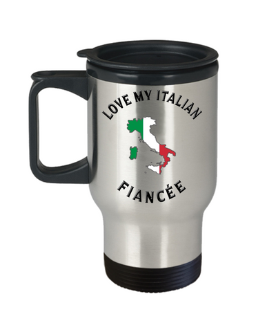Image of Love My Italian Fiancée Travel Mug With Lid Novelty Birthday Gift Coffee Cup