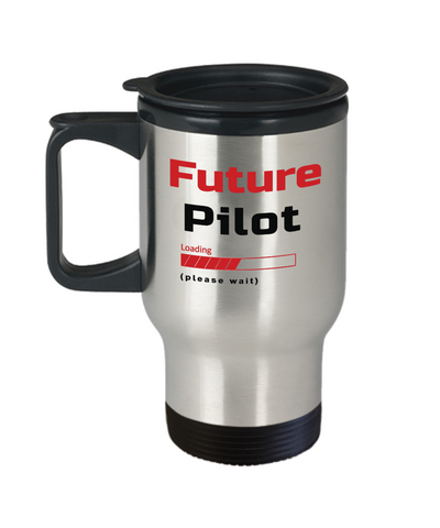 Image of Funny Future Pilot Loading Please Wait Travel Mug With Lid Tea Cup Novelty Birthday Gift for Men and Women