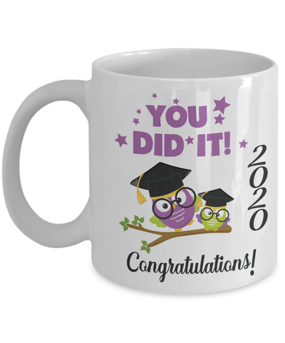 2020 Graduation Owl Mug Gift You Did It Congratulations Coffee Cup
