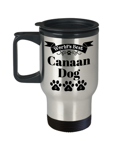 Image of World's Best Canaan Dog Dad Insulated Travel Mug With Lid Fun Novelty Birthday Gift Work Coffee Cup