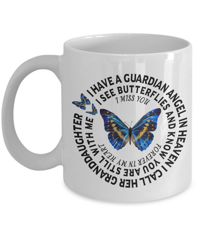 Granddaughter In Loving Memory Gift Butterfly Mug I Have a Guardian Angel in Heaven In Remembrance Memorial Ceramic Coffee Cup