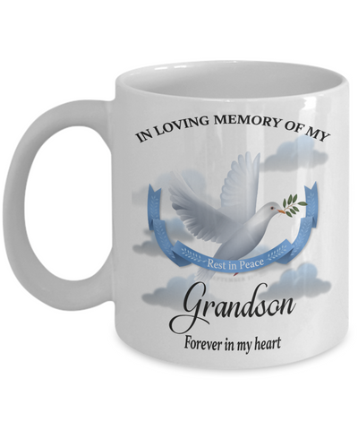Grandson Memorial Remembrance Mug Forever in My Heart In Loving Memory Bereavement Gift for Support and Strength Coffee Cup