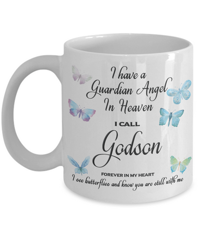 Godson In Remembrance Gift Mug Guardian Angel Memorial Butterfly Coffee Cup