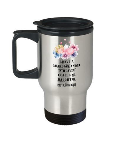 Guardian Angel Baby Daughter Travel Mug Beautiful Angelic Being Floral Cup