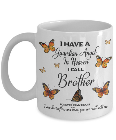 Brother In Loving Memory Mug Guardian Angel in Heaven Monarch Butterfly Gift Memorial Ceramic Coffee Cup