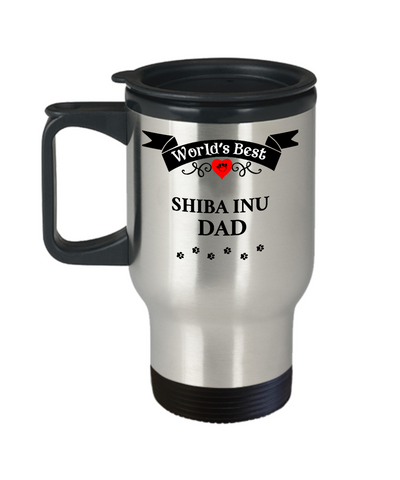 Image of World's Best Shiba Inu Dad Cup Unique Dog Travel Coffee Mug With Lid Gifts for Men