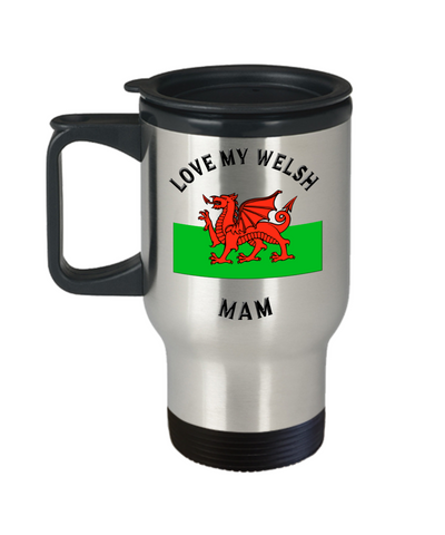 Love My Welsh Mam Travel Mug With Lid Novelty Birthday Gift Coffee Cup