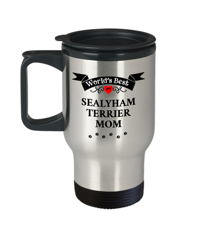 Image of World's Best Sealyham Terrier Mom Dog Cup Unique Travel Coffee Mug With Lid Gift