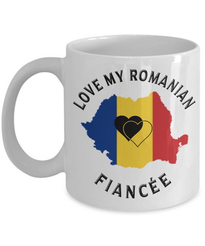 Love My Romanian Fiancée Mug Novelty Birthday Gift for Partner Ceramic Coffee Cup