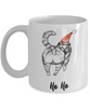 "Funny Cat Gift for Cat Lovers, ""Ho Ho"" Fun Coffee Mug Christmas Cat"