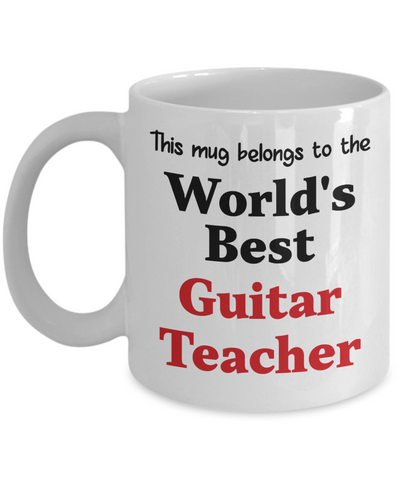 Image of World's Best Guitar Teacher Mug Occupational Gift Novelty Birthday Thank You Appreciation Ceramic Coffee Cup