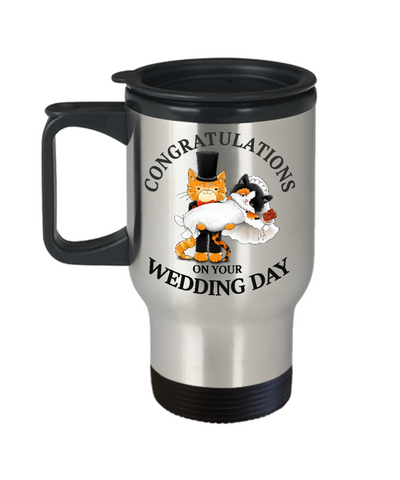 Congratulations Wedding Day Cat Travel Mug Gift Marriage Mr & Mrs Fur Lovers Novelty Cup
