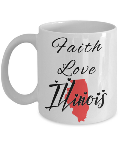 Image of Patriotic USA Gift Mug Faith Love Illinois Unique Novelty Birthday Christmas Ceramic Coffee Tea Cup