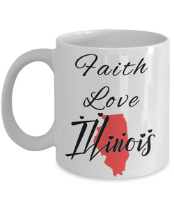 Patriotic USA Gift Mug Faith Love Illinois Unique Novelty Birthday Christmas Ceramic Coffee Tea Cup