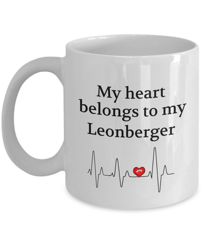 My Heart Belongs to My Leonberger Mug Dog Lover Novelty Birthday Gifts Unique Work Ceramic Coffee Gifts for Men Women