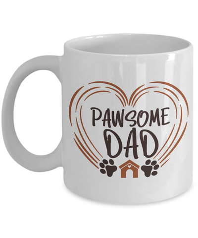 Pawsome Dad Mug Dog Lover Novelty Birthday Quote Gift Ceramic Coffee Cup