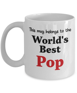 World's Best Pop Mug Family Gift Novelty Birthday Thank You Appreciation Ceramic Coffee Cup