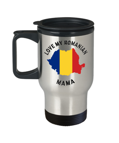 Love My Romanian Mama Travel Mug With Lid Novelty Birthday Gift for Partner Coffee Cup