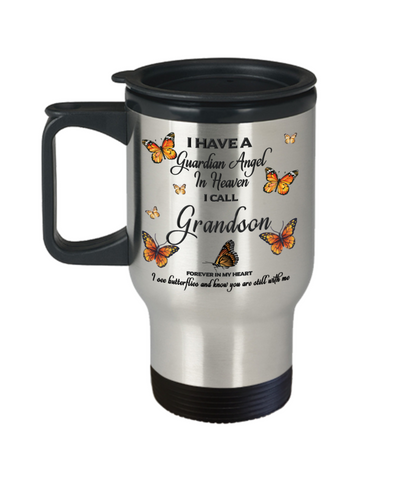 Grandson In Loving Memory Travel Mug With Lid Guardian Angel in Heaven Monarch Butterfly Gift Memorial Coffee Cup