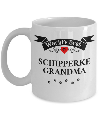 Image of World's Best Schipperke Grandma Cup Unique Ceramic Dog Coffee Mug Gifts for Women