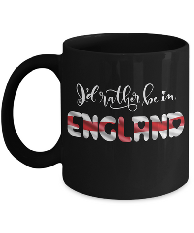 Image of I'd Rather be in England Black Mug Expat English Gift Novelty Birthday Ceramic Coffee Cup
