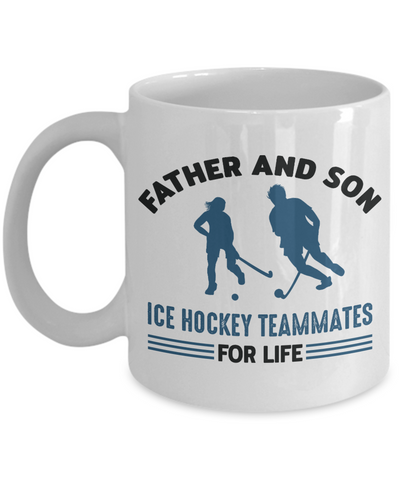 Father and Son Ice Hockey Teammates For Life Mug Gift Novelty Birthday Ceramic Coffee Cup