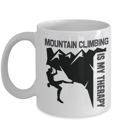 Mountain Climbing is My Therapy Mug Gift Outdoor Adventure Lover Novelty Coffee Cup