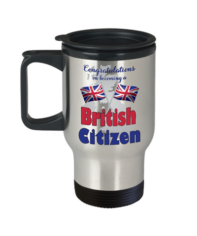 New UK Citizen Travel Mug With Lid Proud to Be British Congratulations Novelty Citizenship Gift Coffee Cup
