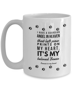Boxer Bereavement Dog Mug Guardian Angel in Heaven That Left Paw Prints On My Heart Pet Remembrance Memory Gift Ceramic Coffee Cups