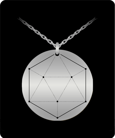 Icosahedron Pendant Sacred Geometry Laser Etched Silver Colored Necklace
